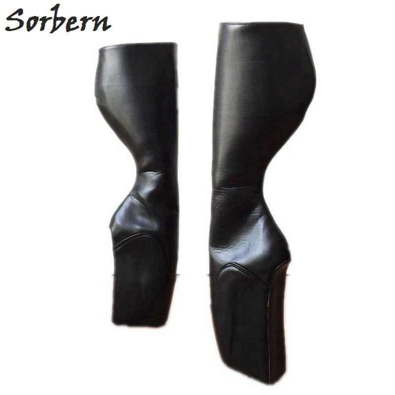 c99343cbc92 Sorbern Custom Wide Calf Black Matte Knee High Boots Ballet Wedge High Heel  Womens Shoes Size