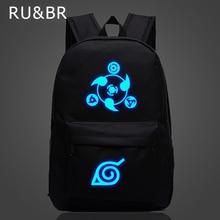 RU&BR Naruto Luminous Rucksacks Japanese Anime Canvas Backpack Hokage School Travel Laptop Bags For Teenagers Bolsas Escolar