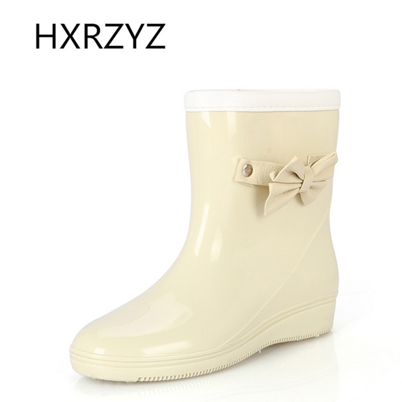 water shoes Women spring and autumn new bow rubber boots Ladies plus Cotton warm rain boots