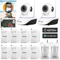 Sacam Беспроводной Wi Fi IP Камера сигнализации Системы для домашнего офиса безопасности smart аудио видео мониторинг двери Сенсор pir детектор движ