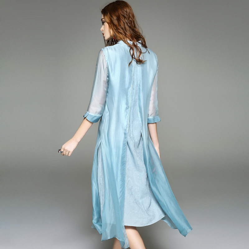 21d307bdcf0 2017 Vintage Long Dress Women Boho Plus size women clothing pure silk dress  Classic party s T shirt dress retro JS LTHD 0002-in Dresses from Women s ...