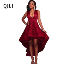 QILI Elegant Lady Party Dress Sexy Deep V Neck Sleeveless Lace Dresses White Black Wind-red Asymmetrical Ankle-Length