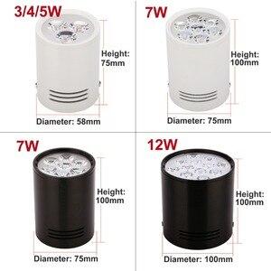 Image 4 - 3W 5W 7W 12Wพื้นผิวดาวน์ไลท์LEDโคมไฟเพดานไฟสีขาวสีดำสำหรับห้องนั่งเล่นห้องครัวห้องน้ำไฟ