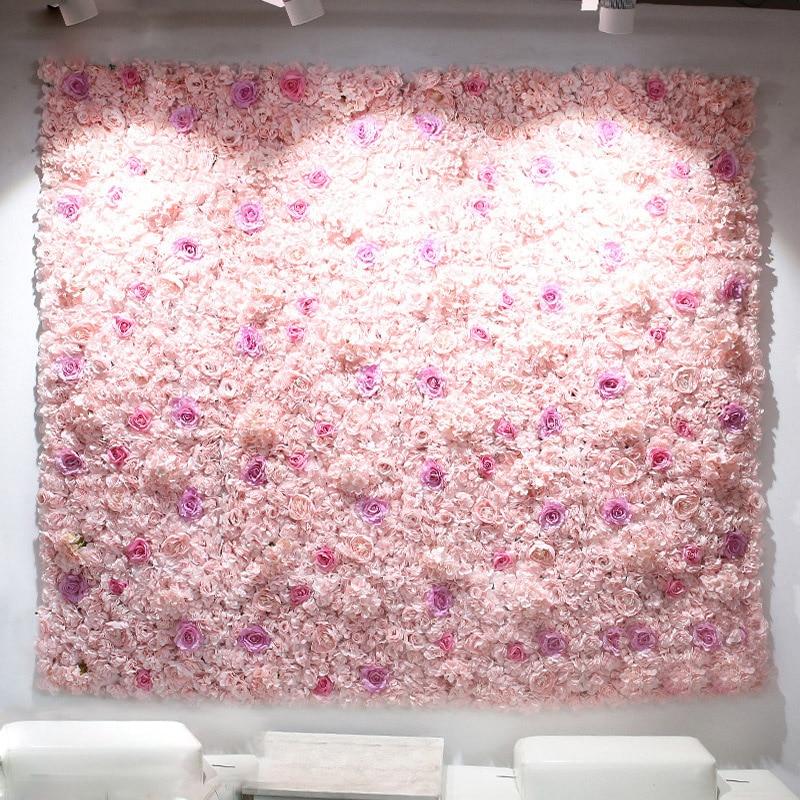 40x60 cm panneaux de fleurs artificielles décoration de mariage toile de fond Champagne soie Rose faux fleurs hortensia mur toile de fond 24 pièces
