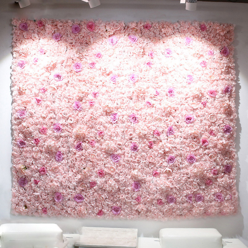40x60cm Artificial Flower Panels Wedding Decoration Backdrop Champagne Silk Rose Fake Flowers Hydrangea Wall Backdrop 24pcs