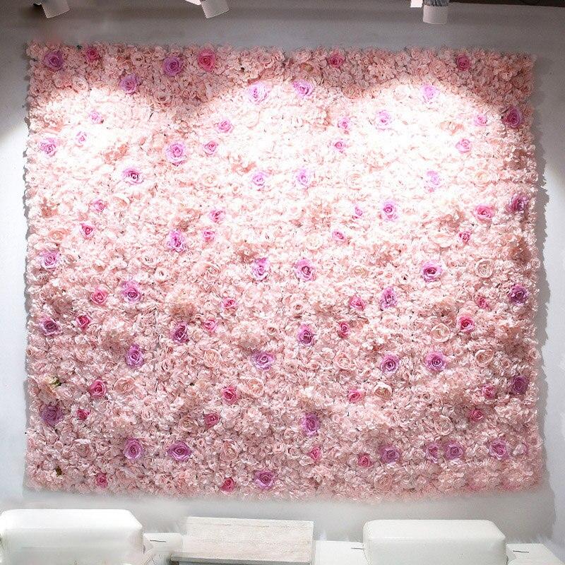Painéis 40x60 cm Flor Artificial Decoração de Casamento Pano de Fundo Champagne Silk Rose Flores Falsificadas Hortênsia Parede Cenário 24 pcs