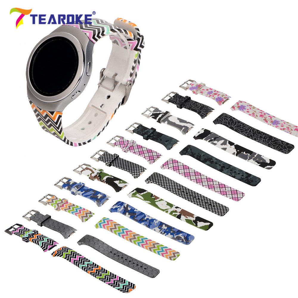 TEAROKE Camo Flower Printed Silicone Watchband for Samsung Gear S2 R720 Replacement Bracelet Band Strap for Gear S2 Sport Watch