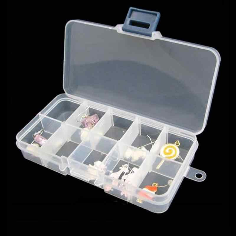 10 Grid Plastic Makeup Organizer Jewelry Rings Adjustable Tool Box Pill Case Craft Make up Organizer Storage Box