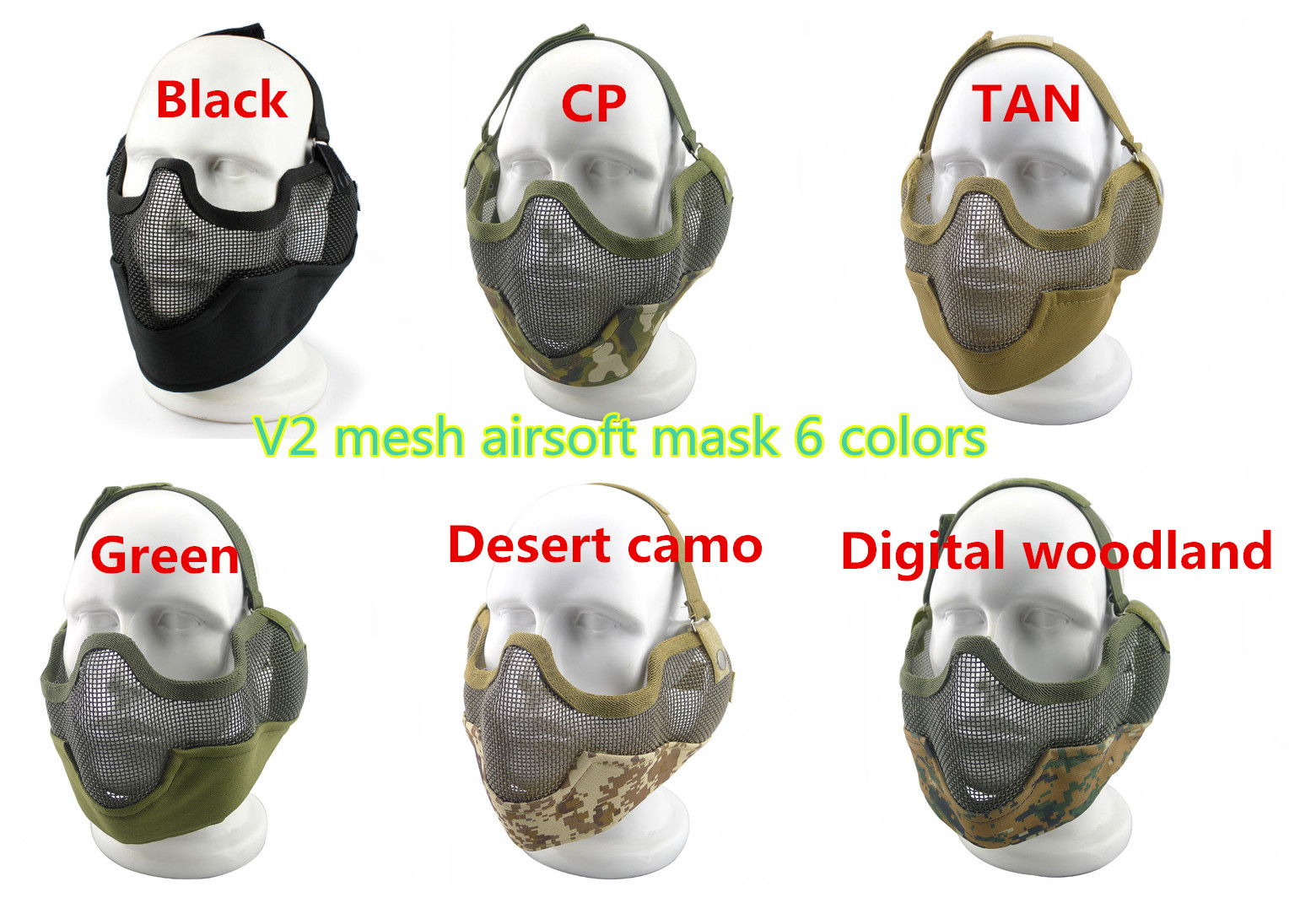 Nouveau Visage Masque Airsoft Strike V2 Acier Mesh Moitie Du Visage
