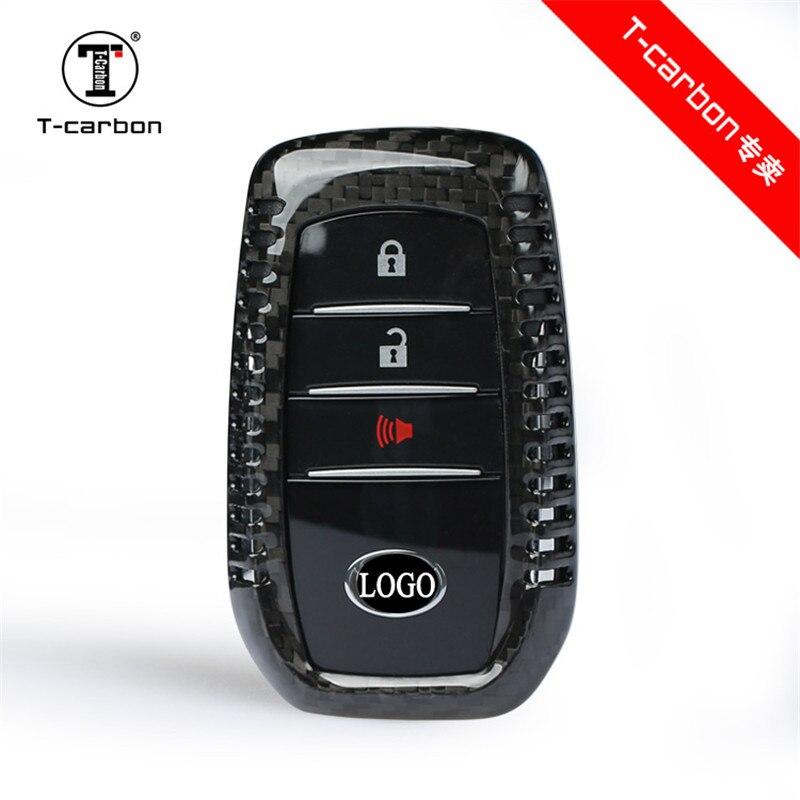 Carbon Fiber 3 buttons Car Key Case For Toyota Highlander Land Cruiser Riez RAV4 Camry Prado