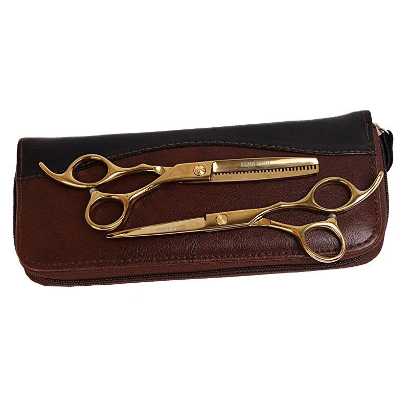 """6.0"""" Sale Gold Japan Hair Scissors Teflon Shears Cheap Hairdressing Scissors Barber Thinning Scissors Hairdresser  Leather Case"""
