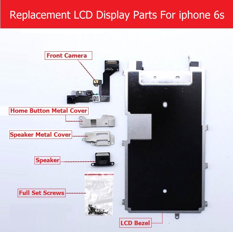 Full Set parts For Apple iPhone 6s 6s plus LCD display Metal Bezel /Front camera /speaker/home button flex cable/ Screw/ Bracket image