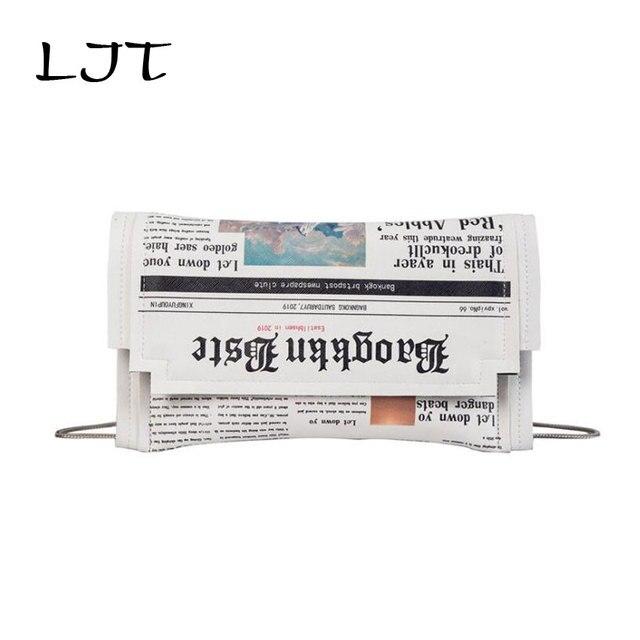 LJT Personality Newspaper Letters Print Female Small Flap Chain Bag 2019 New Fashion Retro Hip Hop Shoulder Messenger Bag Purse