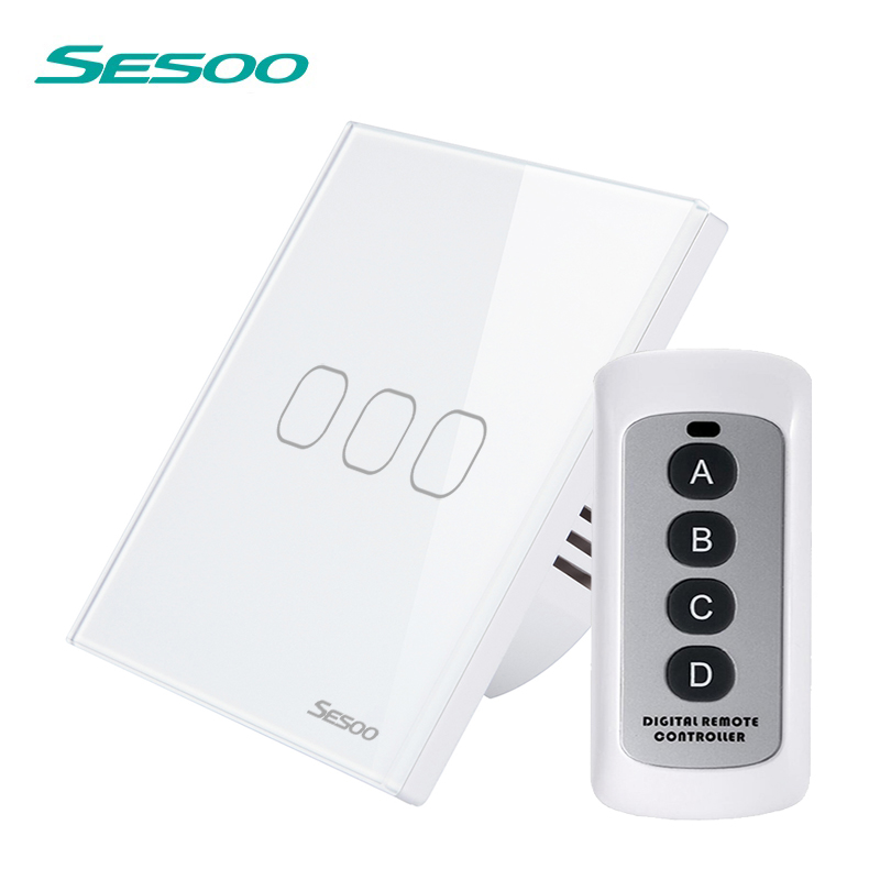 SESOO Remote Control Switch 3 Gang 1 Way Wireless Touch Switch Waterproof Glass Panel Light Touch Switch with Remote Control k1rf ltech one way touch switch panel ac200 240v input can work with vk remote page 1