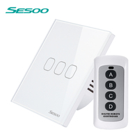 SESOO Remote Control Switches 3 Gang 1 Way Black Wireless Remote Control Wall Touch Switch Crystal