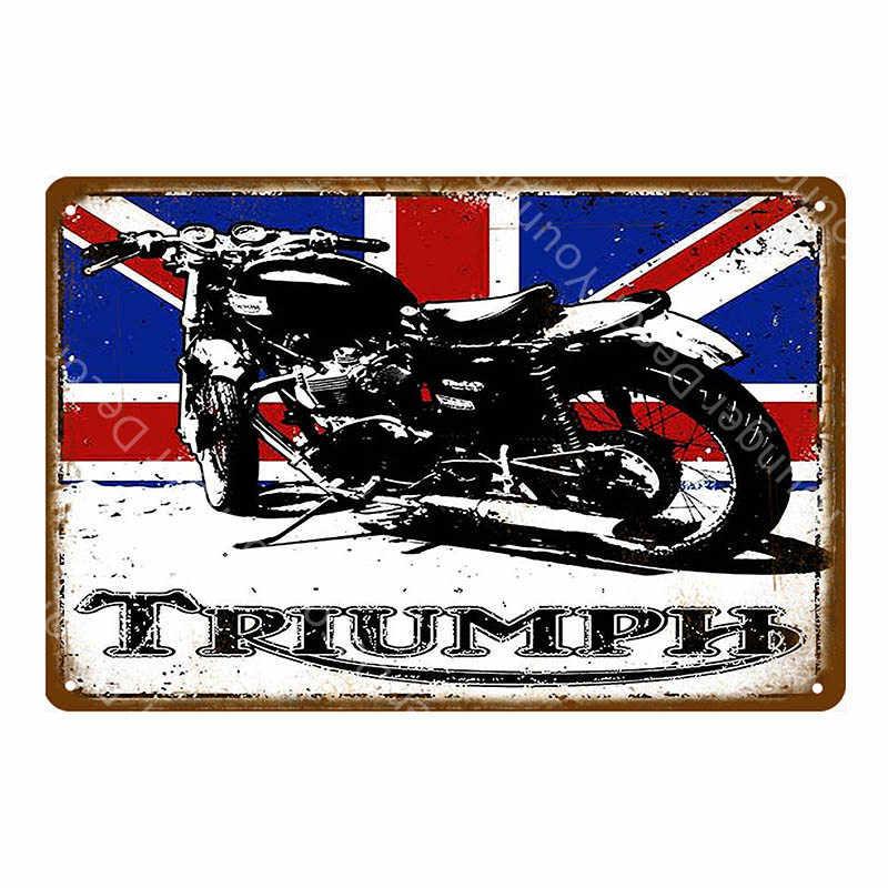 Triumph Norton motocykle metalowe tabliczki niestandardowe silniki żelazny plakat Pub Bar garaż klasyczna ściana dekoracji