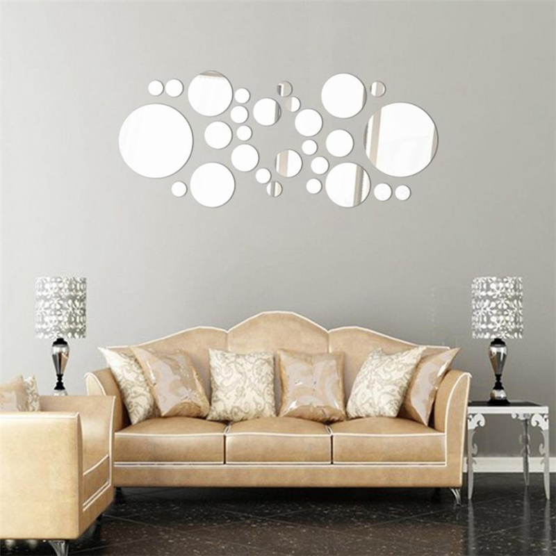 3D Mirror Circle Decal Wall Sticker DIY Removable Art ...