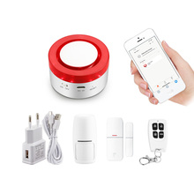 Tuya Smart home security wifi alarm siren for smart life free APP compatible 433Mhz Alarm Sensors Gateway Siren two in one