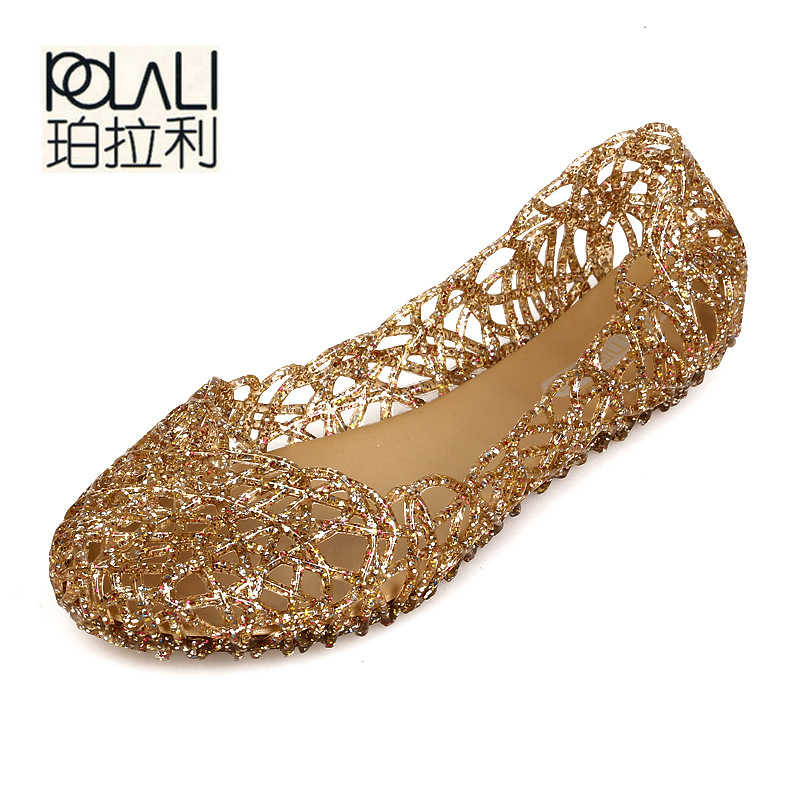 POLALI Women's Sandals 2019 Fashion Lady Girl Sandals Summer Women Casual Jelly Shoes Sandals Hollow Out Mesh Flats 23-25cm