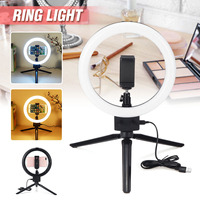7inch Studio LED Ring Light Dimmable Photo Video Lamp Kit For Camera Phone Shoot USB Port 2800 5500K Color Temperature Portable