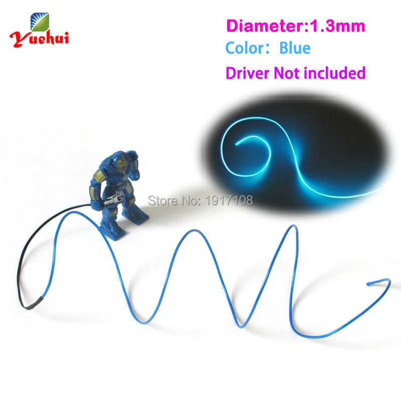 1.3mm Blue EL Wire Rope Tube Flexible Neon Light 10 Color Choice Not Include EL Controller For Toys Craft Party Decoration