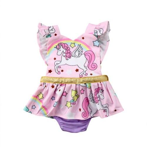 1dc1e7a26 Newborn Baby Girls Unicorn Ruffles Tutu Romper Jumpsuit Clothes ...