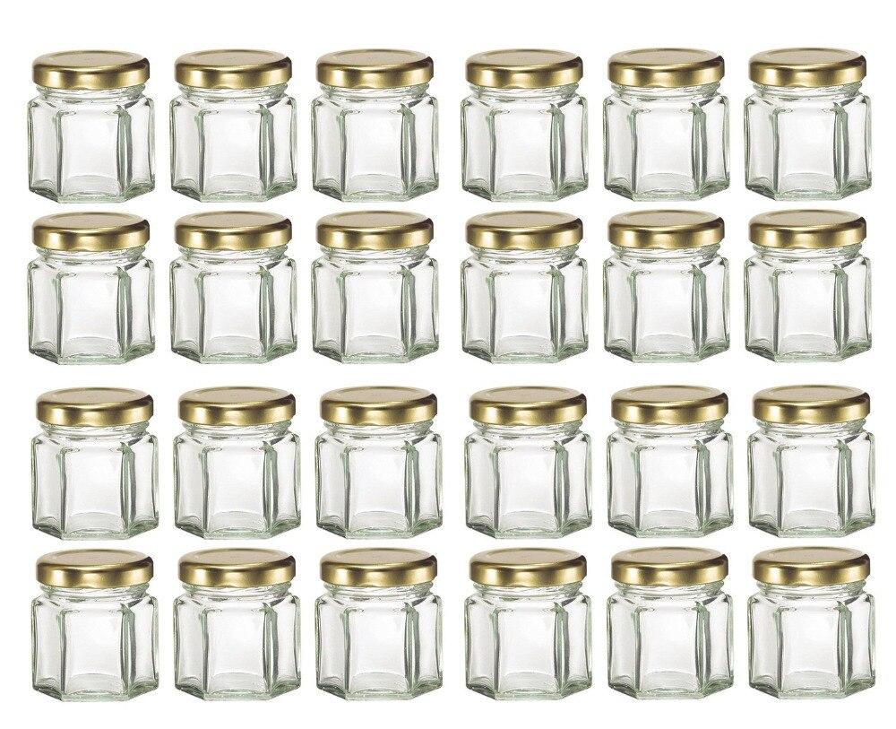 Bulk 24pcs  1.5OZ Mini Hexagon Glass Jars With Gold Lids,USD32.40 for 24pcs/Each USD1.35 glass bottle