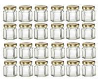 A granel 24 Uds 1,5 OZ 45ml Mini tarros de vidrio hexagonales con tapas de oro/plata/negro, para mermelada, miel, caramelos, mermelada de especias