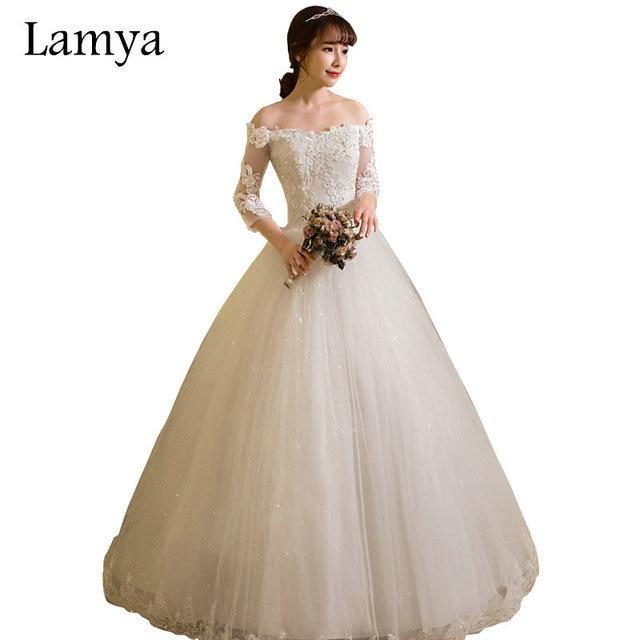 db0ef8d736 LAMYA dostosowane suknia balowa koronki trzy czwarte Boat Neck suknie  ślubne 2019 księżniczka Plus rozmiar suknie ślubne vestido de noiva