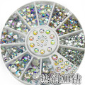 ONE box 12 colors  Nail art Decoration Super bright silver AB Rhinestone Nails Powder For gel nail polish Tips M967