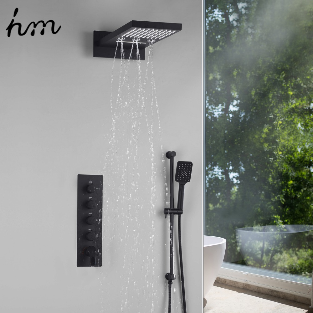"Hm 22""Waterfall Rain Shower Sets Faucet Rotating Water Shower 4 Function Spa Waterfall Massage Bathroom Fixture Black Shower Set(China)"