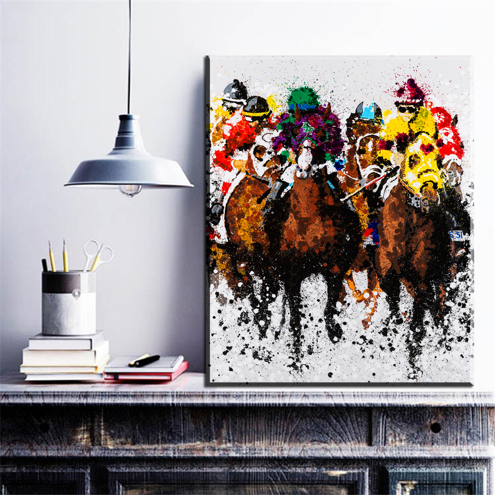 Abstract Art Prints On Canvas Us 7 81 37 Off Xdr266 Abstract Painting Riding Horse Cowboy Oil Painting On Canvas Frameless Art Prints In Painting Calligraphy From Home Garden