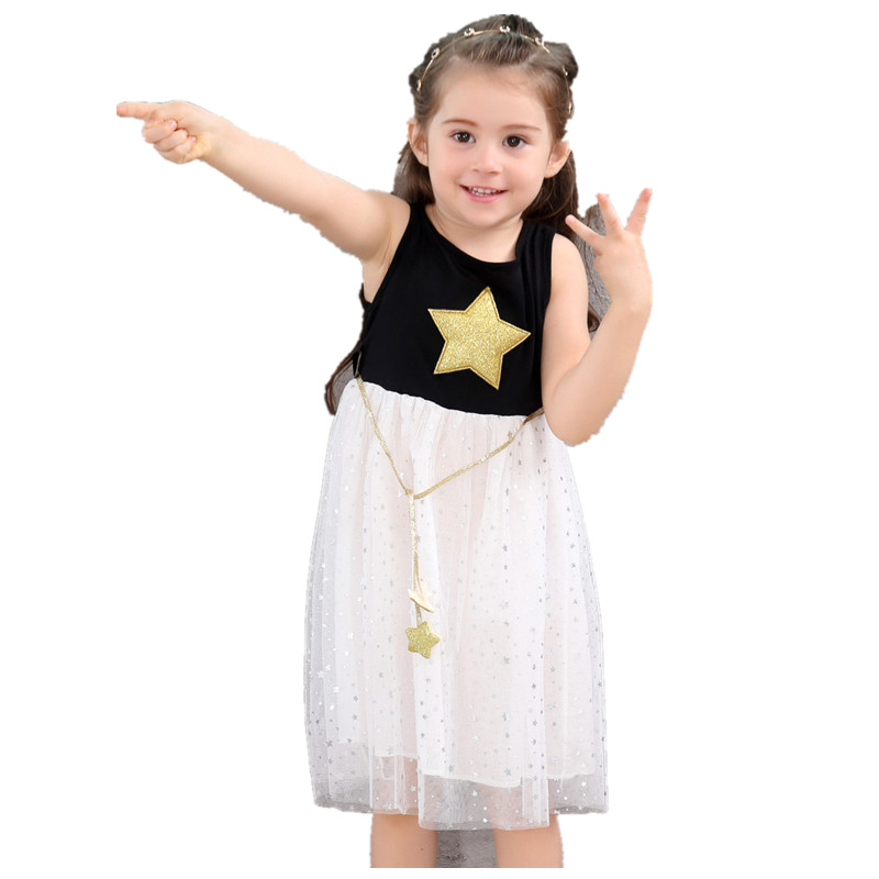 2018 girls dress stars girl sleeveless dresses children christmas princess dresses party clothes kids clothes baby girl clothes