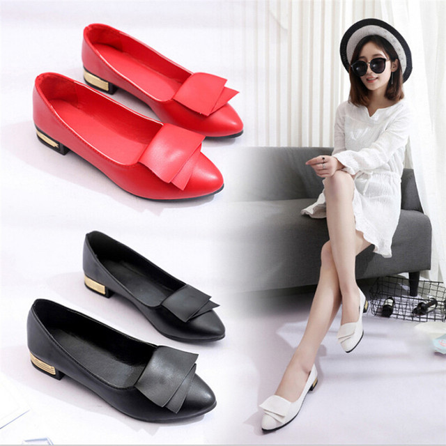 Women Summer Office Shoes Pumps Wedding Office Lady Dress Pointed Shoes Slip Shallow Lether Lightweight Soft shoes for ladies T
