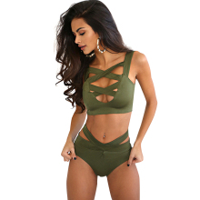 Women Bikini Push Up High Waist Green Black Red