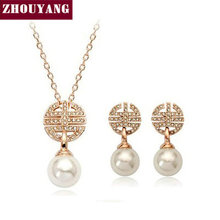 Top Quality ZYS077 Grace Classical Imitation Pearl  Gold Plated Jewelry Set Rhinestone Made with Austrian  Crystal Health