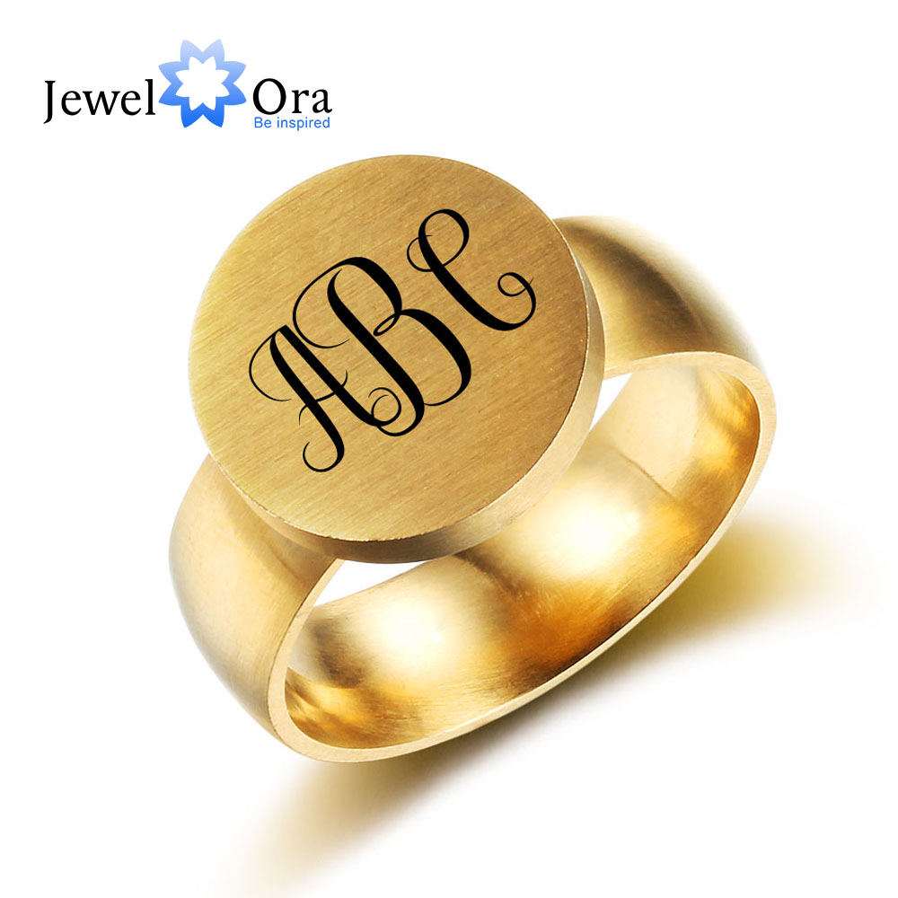 Customized Stainless Steel Ring Fashion Trendy Jewelry Personalized Engrave Best Gift Fo ...
