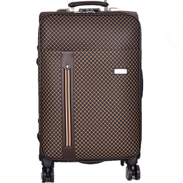 "BOLO BRAVE 20 24"" PU Plaid trolley suitcase luggage spinner wheels Pull Rod trunk men traveller case boarding bag customs lock"