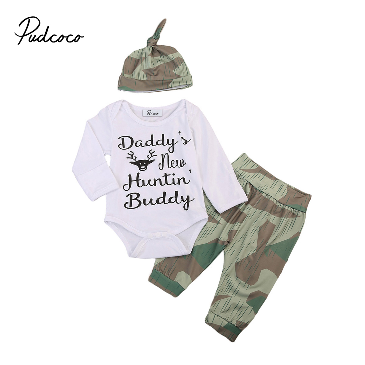Pudcoco 3pcs Fashion sets Kids Baby Boy Clothes Long Sleeve White Romper Camouflage Pants Hat Outfits Cool Baby Boy Sets