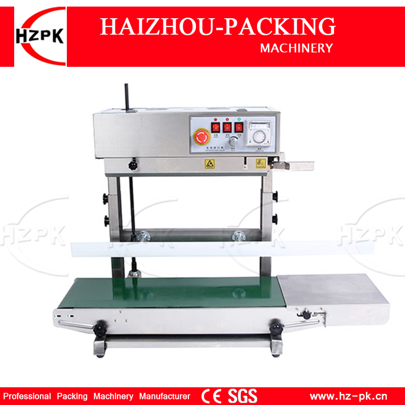 HZPK Vertical Continuous Sealing Machine Stainless Steel Shell Good motor Iron gear For Height Plastic Bag Sealing Machine H450m