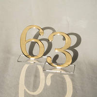Wedding Table Numbers Acrylic Silver Or Gold Standing Numbers Geometric Elegant Table Centerpiece Reception table number Party