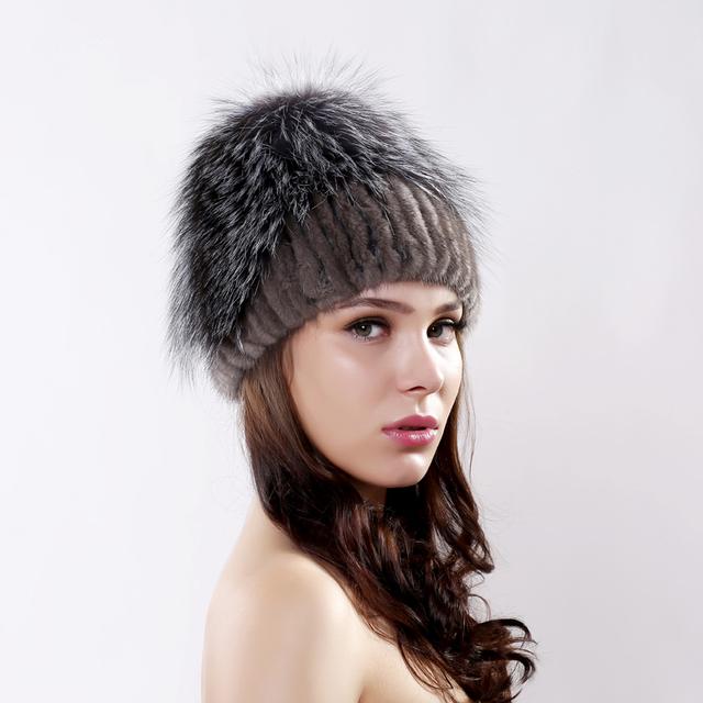 Inverno das mulheres novas da moda real rex chapéu de pele de coelho com pele de raposa de luxo tampas skullies gorros de malha de pele de boa qualidade