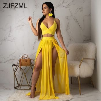 Sexy Chiffon Two Piece Outfit For Women Clothes Yellow Spaghetti Strap Backless Crop Top And  Front High Split See Through Skirt sexy spaghetti strap backless chiffon tank top for women