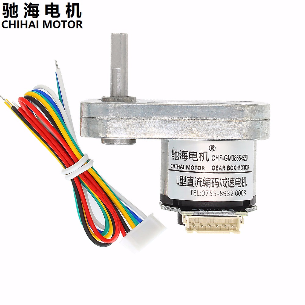 Chihai Motor CHF-GM3865-520-ABHL DC Magnetic Holzer Encoder Gear Motor 6.0V 12.0V L type reduced installation