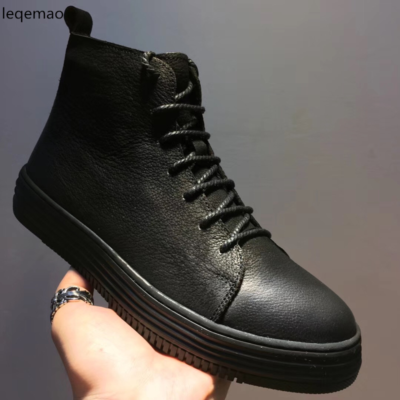 New Fashion Men Basic Black Winter Warm Fur Lace-Up High-Top Nuduck Genuine Leather Luxury Brand Trainers Snow Boots Flats Shoes hot sale men basic black winter warm fur shoes high top nuduck genuine leather luxury brand ankle snow boots flats size 38 44