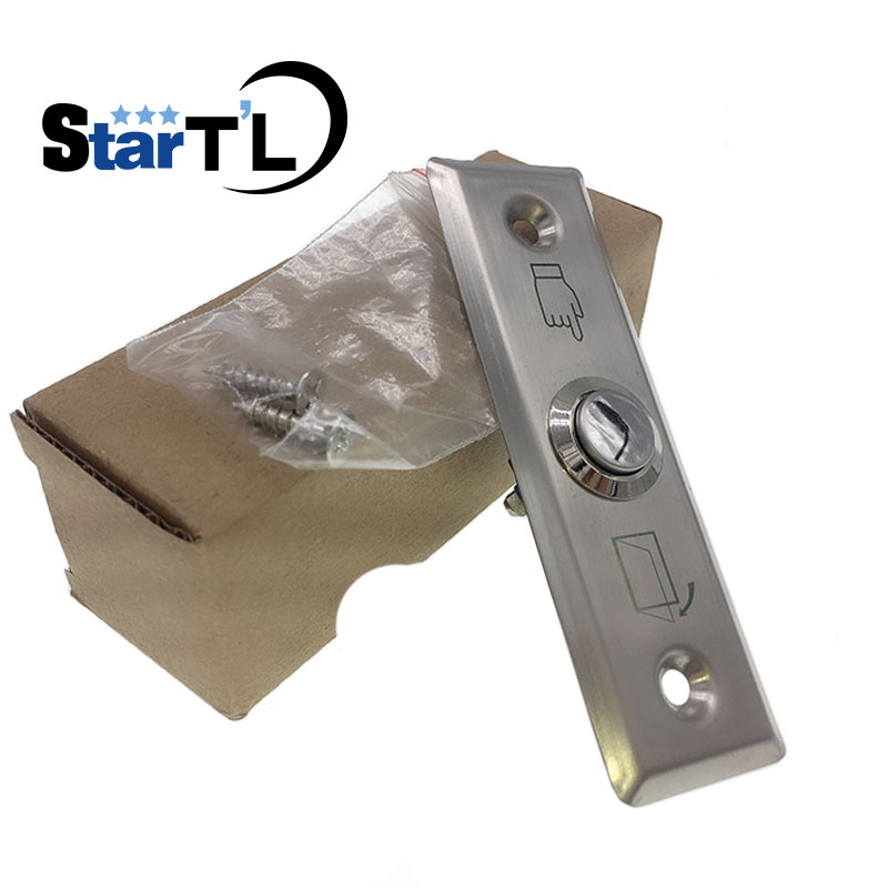 Free Shipping Stainless Steel Metal Exit Button Switch For Access Control System Long Slim Door Release Button