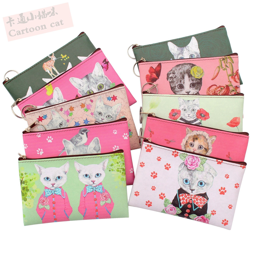 New Cartoon Cat Coin Purse Children Kitty Clutch Small Wallet Women Coin Wallets Kids Cute Zipper Bag Pouch Holder Change Purses