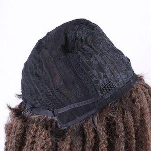 Image 2 - Luxo para trança 18 polegada ombre cor marley afro kinky encaracolado peruca sintética para mulher preto marrom escuro