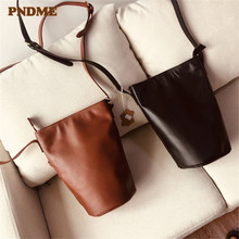 PNDME high quality suede leather diagonal bag for women simple soft genuine leather ladies bucket bag shoulder crossbody bags imported high quality calfskin women clutch bag convenient and compact soft and supple suede leather women shoulder bag