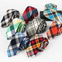 Men Classic Bright Color Tartan Plaid Checks Grids Cotton Ties Necktie TSBWT0011